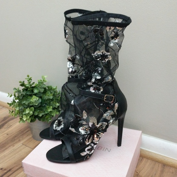 Cape Robbin Shoes - Cape Robbin Suzzy-89 Sheer Sequin Peep Toe Boots